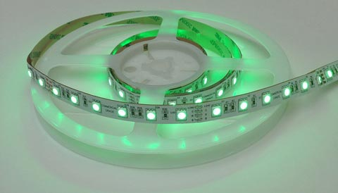 14.4 Watt 5050 SMD - RGB LED strip on a reel, lit up green