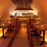 La Perla Restaurant - golden LED light in the dining space