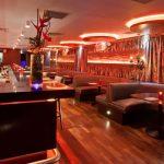 Laska Bar's dorop-ceiling LEDs