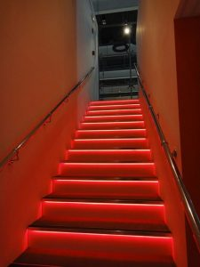 4.8w Red LED Tape used on stairs