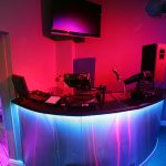Sence mix desk shrouded in LED light