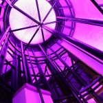 Inside the Sence dome - mauve LEDs