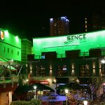 Sence nightclub exterior LEDs set to green light