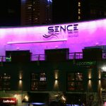 Sence nightclub exterior LEDs set to lavender light