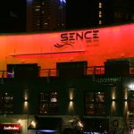 Sence nightclub exterior LEDs set to fiery red light