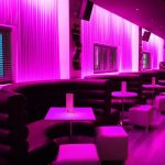 Sence bar seating area - LEDs create purple light