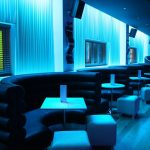Sence bar seating area - LEDs create sky-blue light