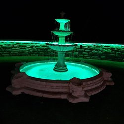Fountain illuminated by 15-watt splashproof LEDs
