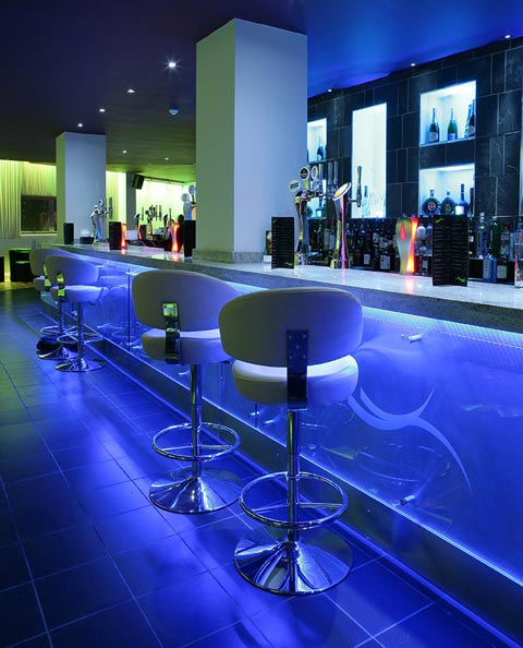 Colour changing RGB LED strip lights in Sence bar, Birmingham