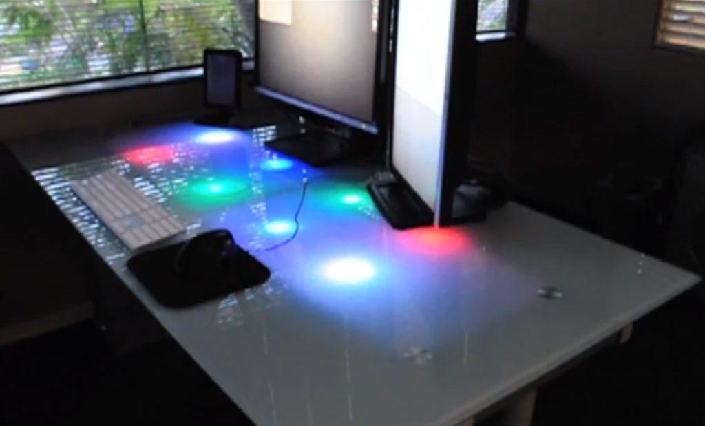 Led Glass Desk Rgb Underllights Triggered By Messenging Apps