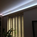 Living room coving lit by 5W LED tape (pure-white tint)