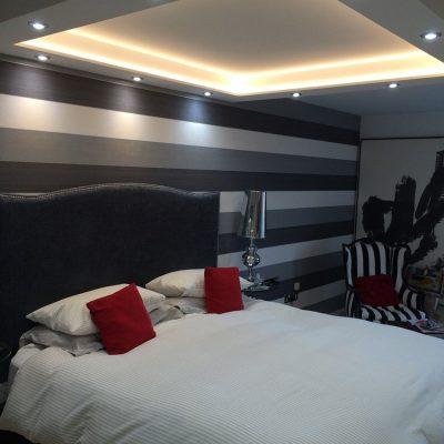 Warm white 5-watt LED tape lights up this bedroom