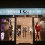 Dior store window illuminated
