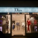 Dior London window display with LED dollhouse