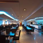 7.2 Watt 5050 SMD RGB LED Tape lit up blue in a restaurant