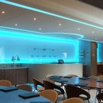 7.2 Watt 5050 SMD RGB LED Tape lit up blue in a football club