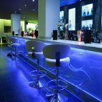 Nightclub bar lit blue by 15-watt RGB LEDs