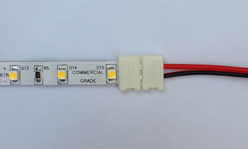 LED strip with starter-lead connector attached
