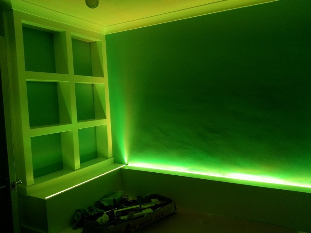 Taping Christmas Lights To Wall : RGB tape used for bedroom LED lights