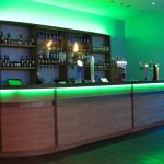 RGB LEDs mixing green light on bowling alley bar