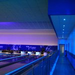 Bowling alley RGB LED downlights set to blue