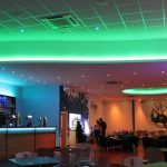 Bowling alley bar - multizone LED system (ceiling set to soft green)