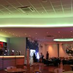 Bowling alley bar - multizone LED system (ceiling set to pastel lime)