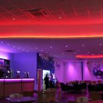 Bowling alley bar - multizone LED system (ceiling set to fiery red)