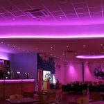 Bowling alley bar - multizone LED system (ceiling set to imperial purple)