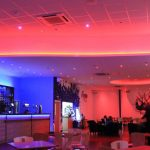 Bowling alley bar - multizone LED system (ceiling set to rose-red)