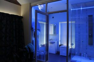Ensuite LED bathroom in blue