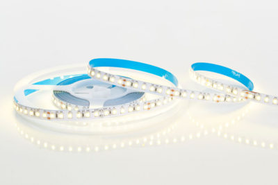 24-watt white LED tape unspooled from its reel