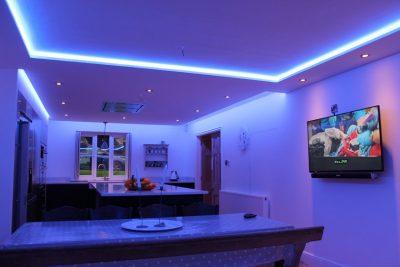 20-watt RGBW LED strips in kitchen