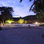 LED uplights around a villa pool