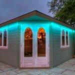 Summerhouse LEDs set to sea-green