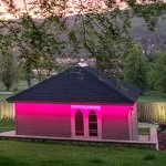 IP67-rated 7.5 Watt RGB tape used for a garden summerhouse
