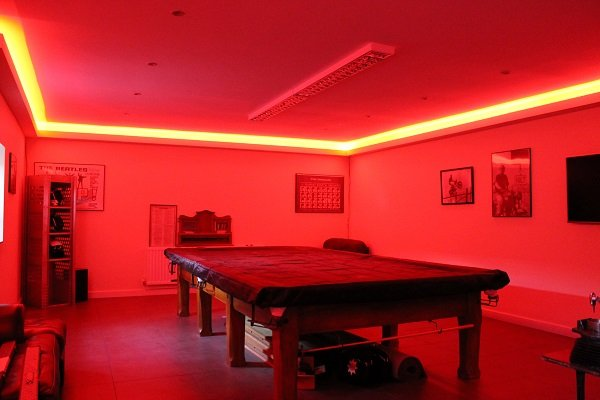 Games room lit by LEDs