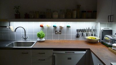 Undercabinet kitchen lighting from 5W white LED strips