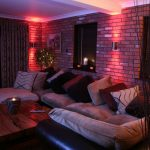 Up-down wall lights, RGB LEDs producing red light