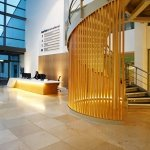 Marlow International reception area (desk & staircase)