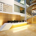 Marlow International lobby area (reception desk in golden light)