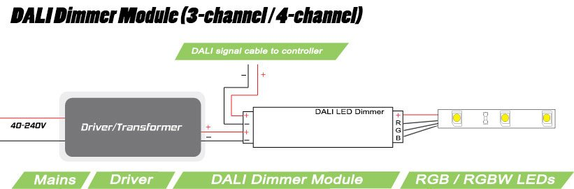 4-Channel DALI LED Dimmer with RGB/RGBW LEDs - wiring diagram