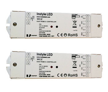 Two multizone RGB controller receivers