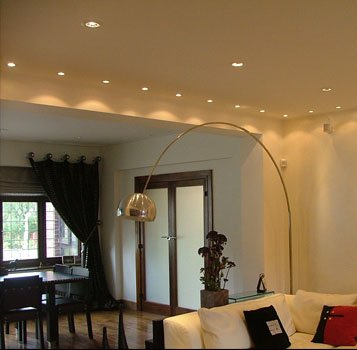 Lutron control-system manages these living-room downlights