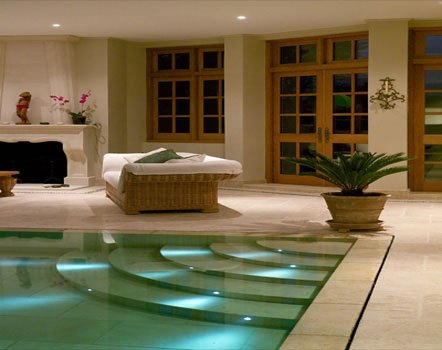 Pool steplights controlled by Lutron