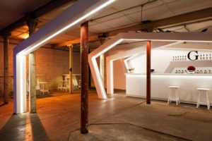 This cellar-bar event was illuminated by white LED strip lights