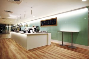 Practical LED lighting for this dining hall