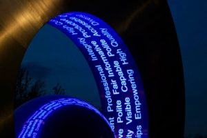 Stencilled LED lights on a public sculpture