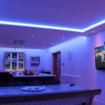Kitchen RGBW LEDs set to soft blue lighting