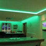 Kitchen RGBW LEDs set to green lighting